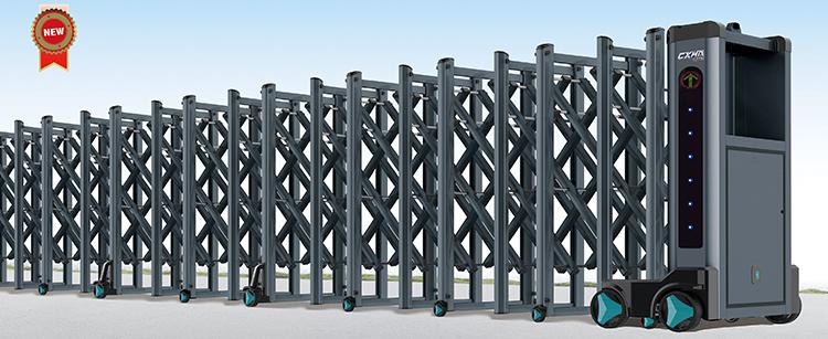 cổng xếp hợp kim nhôm xám hvp n01