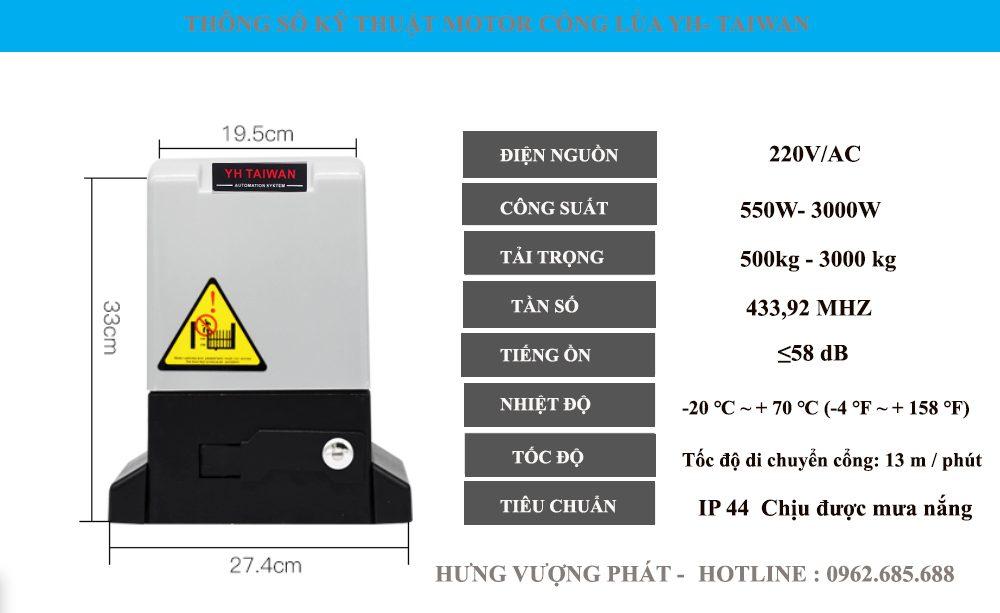 Thông số motor cổng lùa YH Đài Loan